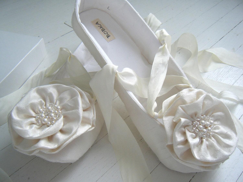 Wedding Bridal Flats Bridal Shoes Ballet Shoes Ivory By BobkaBaby