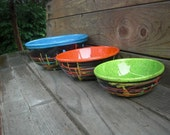 NOW ON SALE - Set of Three 80s Style Spin Art Black and Neon Serving or Mixing Bowls