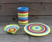Three Piece Ceramic Kitchen Starter Set in Bright Rainbow Stripes - RESERVED
