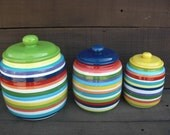 Custom Set Kitchen Canisters - Pick your Colors and Patterns - 3 Piece - S,M,L