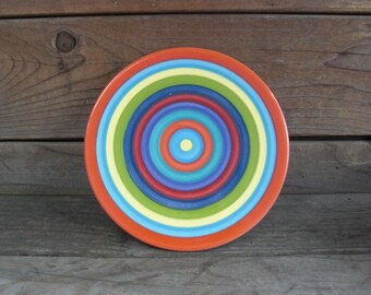 Bright Colorful Striped Ceramic Trivet or Hot Pad - Round - Hand Painted Rainbow Pottery