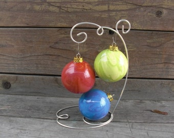 Set of Three Swirly Tie Dye Rainbow Ceramic Christmas Ball Ornaments