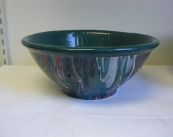 Marble Swirled Ceramic Berry Bowl in Rainbow Colors - sale