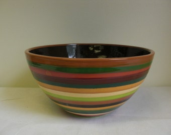 Hand Painted Serving Bowl in Natural Fall Earth Tone Stripes and Splattered Interior