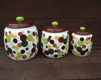 Custom Set of 3 Kitchen Canisters - Layered Polka Dots - Pick your Colors