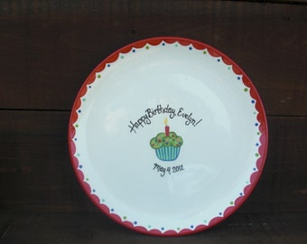 "Custom Cupcake Birthday Party Signature Ceramic Plate - 13"" Serving Platter - Reds, Blues, and Greens"