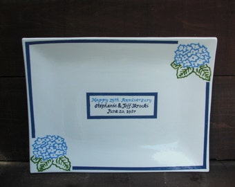 Custom Anniversary Signature Guestbook Platter - Personalized with Hydrangea - Shades of Blue