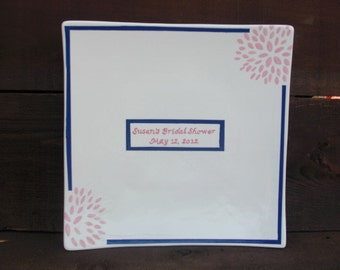 Custom Bridal Shower Signature Guestbook Platter - Personalized with Flowers - Pink and Navy