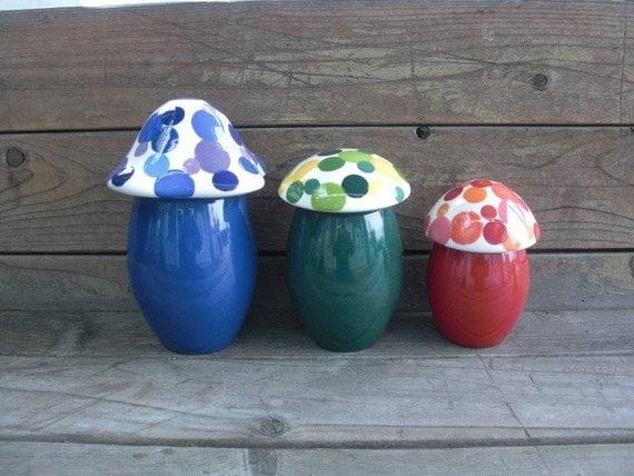Set of Three Bright Colorful Ceramic Mushroom Canisters