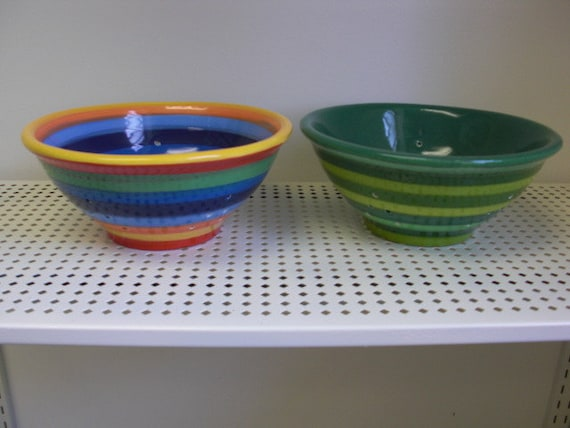 Shades of Green Striped Ceramic Berry Bowl