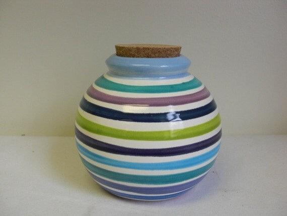 Hand Painted Cool Multi Colored and White Striped Ceramic Jar with Cork Lid - Baby Blue Interior