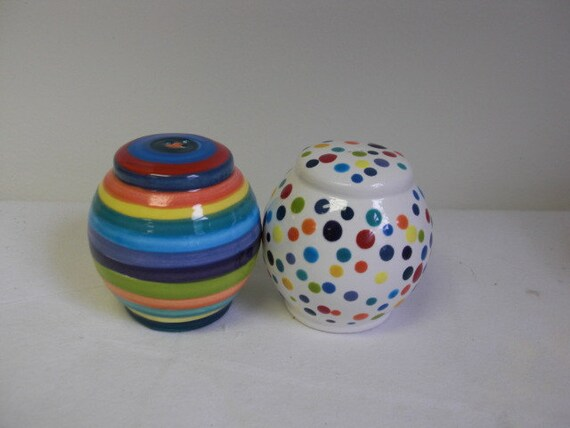 Stripes and Dots Ceramic Salt and Pepper Shakers Set in Bright Rainbow Colors