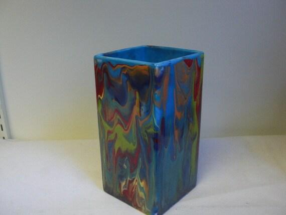 Rainbow Tie Dye Swirls Tall Square Ceramic Vase - Very Unique