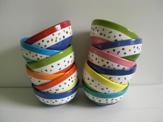 Banded Polka Dots Cereal or Ice Cream Bowl - Hand Painted Ceramic - Light Yellow and Apple Green