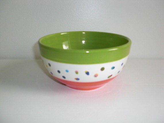 Banded Polka Dots Cereal or Ice Cream Bowl - Hand Painted Ceramic - Apple Green and Tangerine Orange