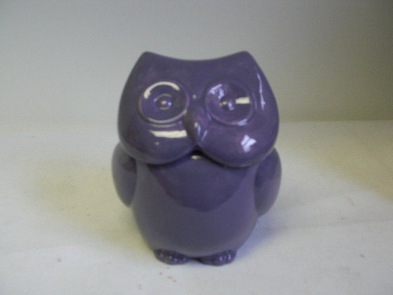 Whimsical Mod Ceramic Owl Box - Small - Grape Purple