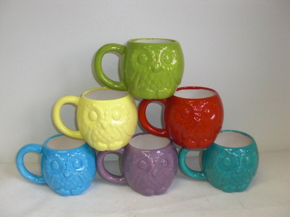 Hand Painted Bright Ceramic Owl Mug - Solid Exterior with White Interior - Apple Green - Sale