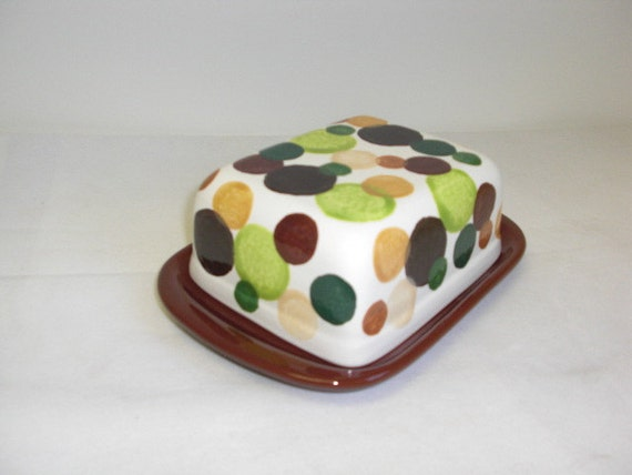 Black Friday / Cyber Monday Sale - Earth Tones Polka Dots Ceramic Butter Dish with Knob - Bright Kiwi Green Base - Double Wide Size