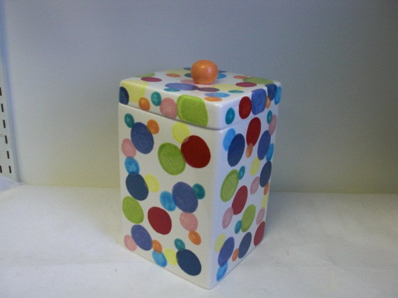 Rainbow Polka Dots Square Ceramic Canister or Cookie Jar - Navy Blue Interior