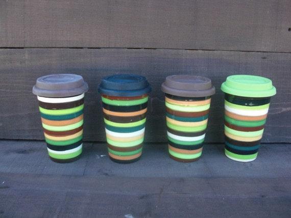 Earth Tone Stripes Ceramic Travel Mug with Silicone Lid - Black Interior