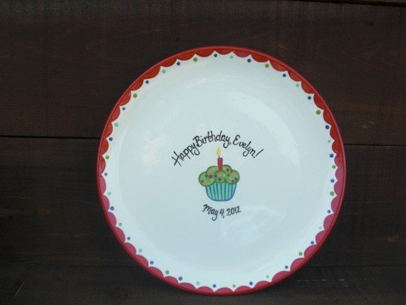 """Custom Cupcake Birthday Party Signature Ceramic Plate - 13"""" Serving Platter - Reds, Blues, and Greens"""