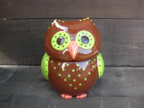 Whooo Loves Owls - Large Modern Ceramic Owl Cookie Jar - Handpainted Apple Green and Chocolate Browns