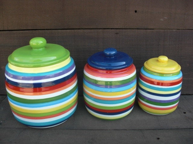 Colorful Kitchen Canisters Sets custom set kitchen canisters pick your colors and patterns