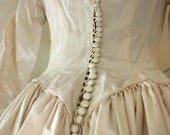 REserved               for bluebalboa.etsy.com    Beautiful Vintage 1940s Satin Wedding Gown with train, tulle and lily applique handmade beauty