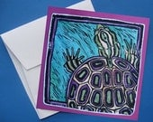 Purple Turtle-set of four blank note cards