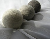 Large Wool Dryer Balls--Set of 3--Natural White/Natural Oatmeal/Natural Tweed--Wool Core