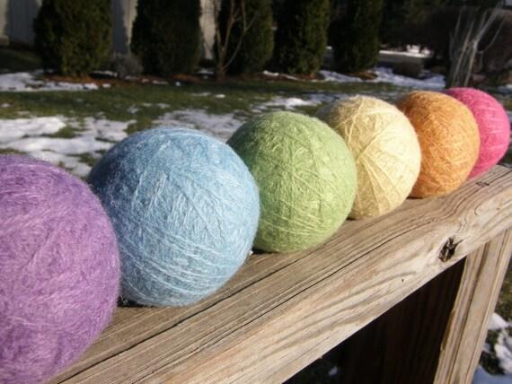Large Wool Dryer Balls--Set of 6--Easter Basket Colors--Wool Core