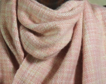 Cashmere Silk Scarf, Handwoven Scarf, Hand Dyed Shell Pinks Natural Cream scarf, Hand Woven, Space Dyed Yarn, Loom Weaving