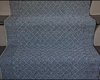 Long Hand Woven Wool Stair Runner, Basket Weave