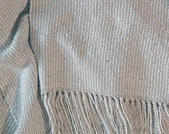 Hand Woven Scarf, Raw Silk Scarf in Natural Shades for Man or Woman