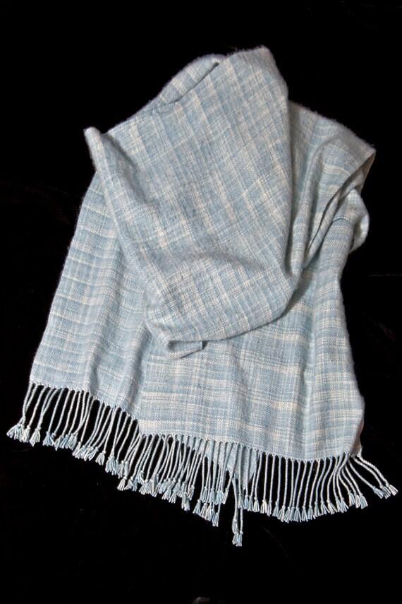 "Silk Cashmere Shawl Hand Woven, Soft Shawl, Handwoven Wrap Shawl Stole, Hand Dyed Blue White Fibers, 18""x96"" Large Oversized Scarf Shawl"
