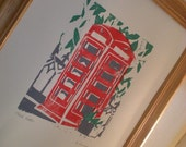 Red Phone Booth in Oxford, MS. Orignal Woodcut. 3 Colors