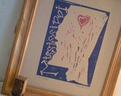 Mississippi Print, Heart over Oxford, Original Linoleum Cut