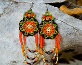 SALE : Orange, green, and purple beaded earrings - Huichol Design