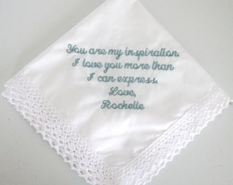 Personalized Embroidered Wedding Handkerchief