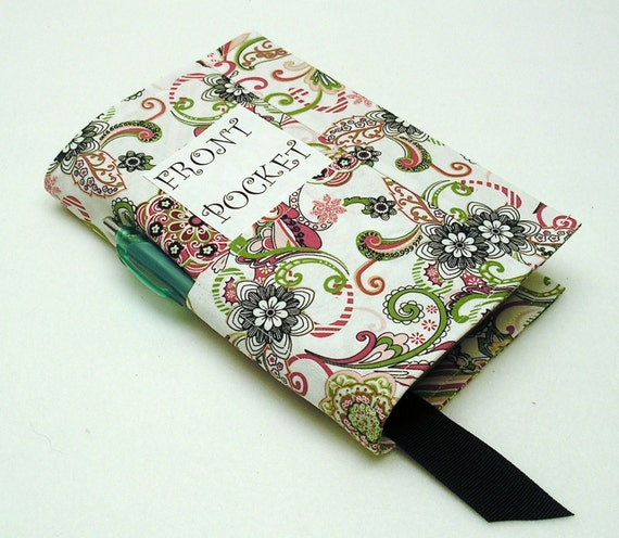Fabric Book Cover With Pocket : Three pocket fabric paperback book cover standard size