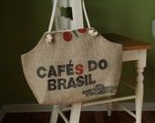 Recycled Burlap Coffee Sack Market Tote, Cafes Do Brazil