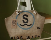 Recycled Burlap Coffee Sack Market Tote - Swiss Water Print