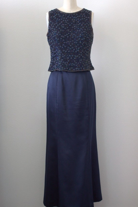 vintage navy blue silk skirt by oohfancythat on etsy