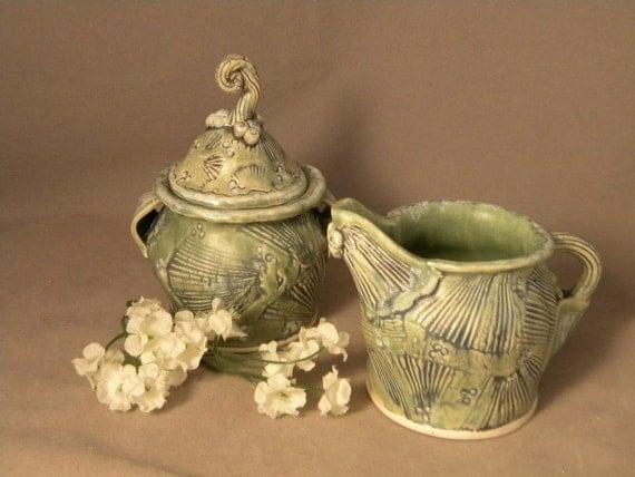 RESERVED FOR REGINA Cream and Sugar Set in Fan Flower Green
