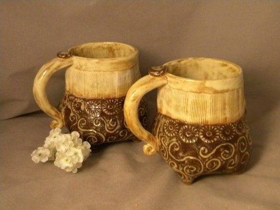 Reserved for Dru a Pair of Butter Brown Mugs