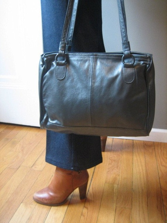 gray leather shoulder bag