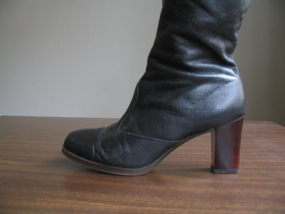 sale 1970's BLACK LEATHER STACKED heels