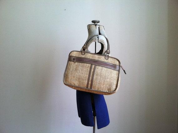 sale 1980's WOVEN TWO TONE handbag.  purse.