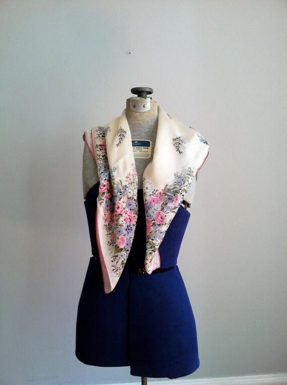 sale 1950's elegant floral pastel scarf. shawl. head wrap.