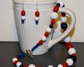 SALE Red White and Blue Patriotic Necklace and Earring Set